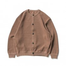crepuscule / 2003-002 Moss stitch crew cardigan - L.Brown 鹿の子編みクルーネックカーディガン ライトブラウン