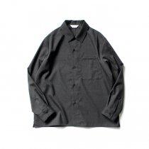 STILL BY HAND / SH02203 ウォッシャブルウール レギュラーカラーシャツ - Charcoal