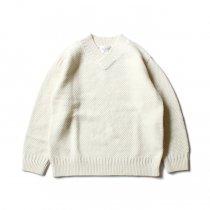 STILL BY HAND / KN05204 アルパカ混Vネックセーター - Off White
