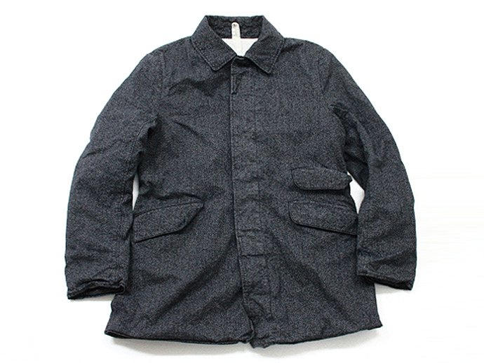 Hexico Stand Fall Collar Short Coat / Weft Grandfille Yarn Twill ショートコート 撚杢 02