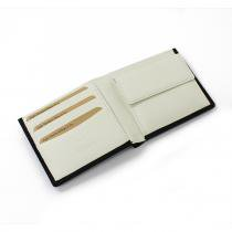 This is... Bridle Leather Bi-Color Short Wallet - White