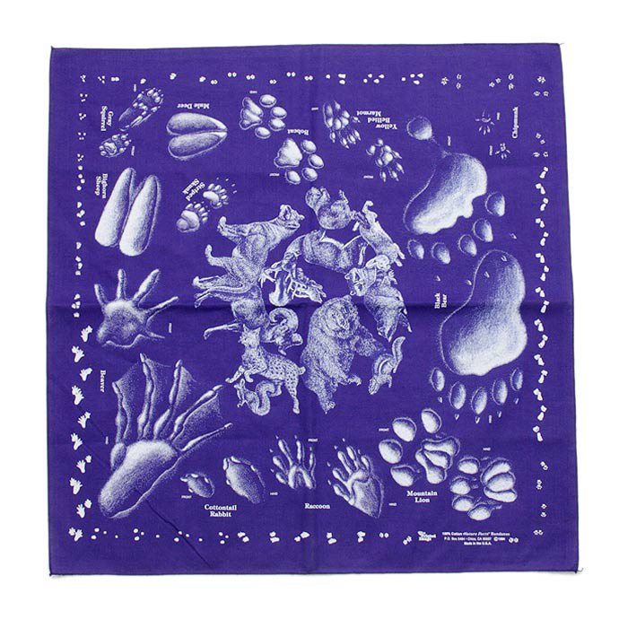 Other Brands The Printed Image / Nature Facts Bandanas - Animal Tracks(ブリンテッドイメージ/ネイチャープリントバンダナ アニマルトラックス)<img class='new_mark_img2' src='//img.shop-pro.jp/img/new/icons47.gif' style='border:none;display:inline;margin:0px;padding:0px;width:auto;' /> 01