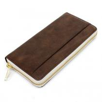 This is... Round Fastener Wallet - Brown Grey Bridle Leather