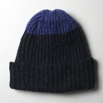 Hexico / Deformer Knit Cap / Loose, Two-tone, Made in England - Navy