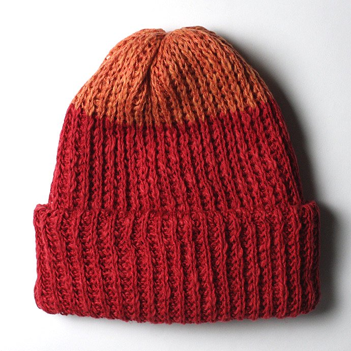 55969619 Hexico / Deformer Knit Cap / Loose, Two-tone, Made in England リネン/コットン ニットキャップ - Red<img class='new_mark_img2' src='//img.shop-pro.jp/img/new/icons47.gif' style='border:none;display:inline;margin:0px;padding:0px;width:auto;' /> 01