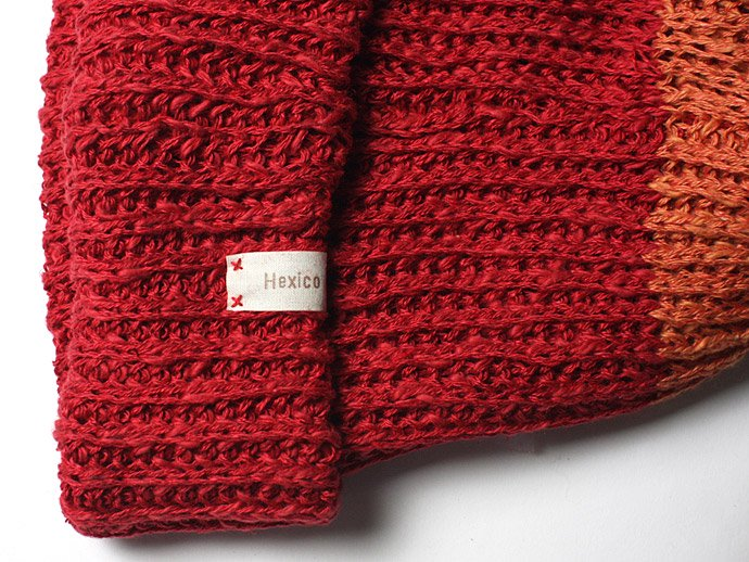 55969619 Hexico / Deformer Knit Cap / Loose, Two-tone, Made in England リネン/コットン ニットキャップ - Red<img class='new_mark_img2' src='//img.shop-pro.jp/img/new/icons47.gif' style='border:none;display:inline;margin:0px;padding:0px;width:auto;' /> 02