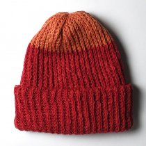 Hexico / Deformer Knit Cap / Loose, Two-tone, Made in England リネン/コットン ニットキャップ - Red<img class='new_mark_img2' src='//img.shop-pro.jp/img/new/icons47.gif' style='border:none;display:inline;margin:0px;padding:0px;width:auto;' />