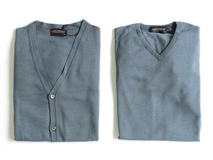 Other Brands JOHN SMEDLEY / BOWER Vネックセーター - Blue Roan 02