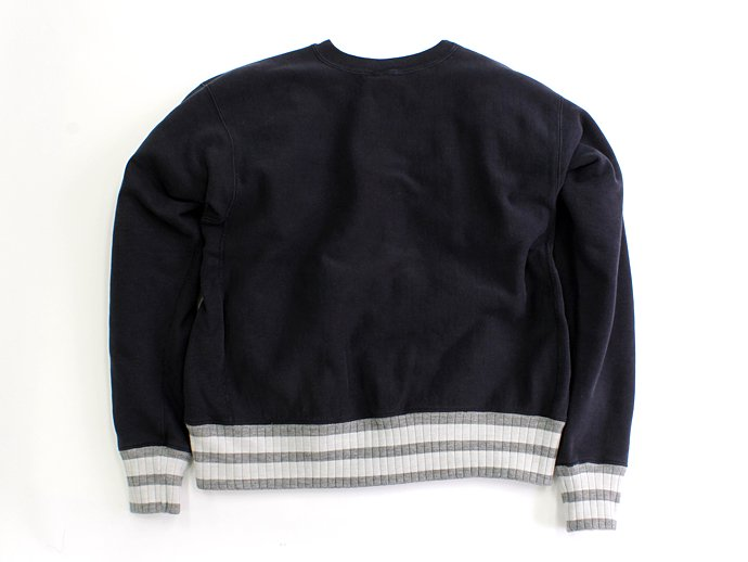 Hexico Deformer Sweat Border Rib ex. Reverse Weave - Navy<img class='new_mark_img2' src='//img.shop-pro.jp/img/new/icons47.gif' style='border:none;display:inline;margin:0px;padding:0px;width:auto;' /> 02