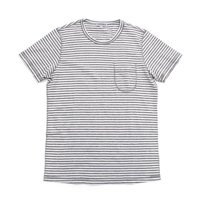73396804 TAURUS / Flat Seamed Pocket Tee ボーダーポケットTシャツ - Grey Stripe 01