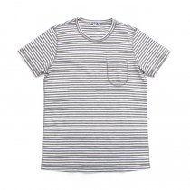 TAURUS / Flat Seamed Pocket Tee ボーダーポケットTシャツ - Grey Stripe