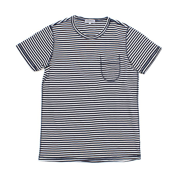 73396869 TAURUS / Flat Seamed Pocket Tee ボーダーポケットTシャツ - Navy Stripe 01
