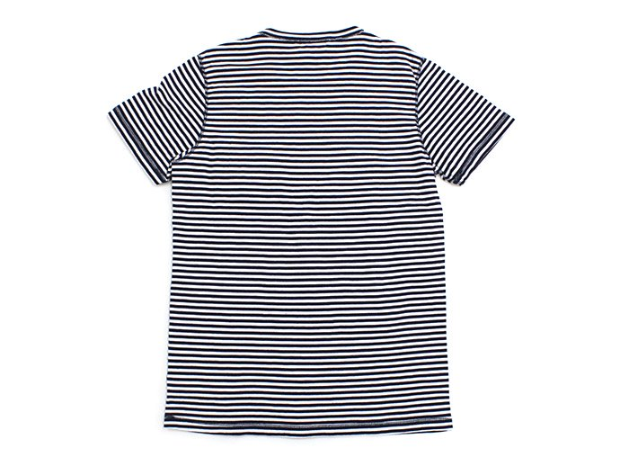 TAURUS Flat Seamed Pocket Tee ボーダーポケットTシャツ - Navy Stripe 02