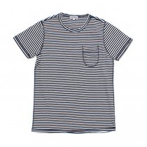 TAURUS / Flat Seamed Pocket Tee ボーダーポケットTシャツ - Navy Stripe