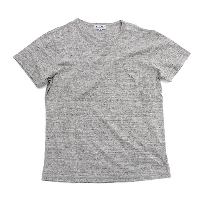 TAURUS Flat Seamed Pocket Tee ポケットTシャツ - Heather Grey 01