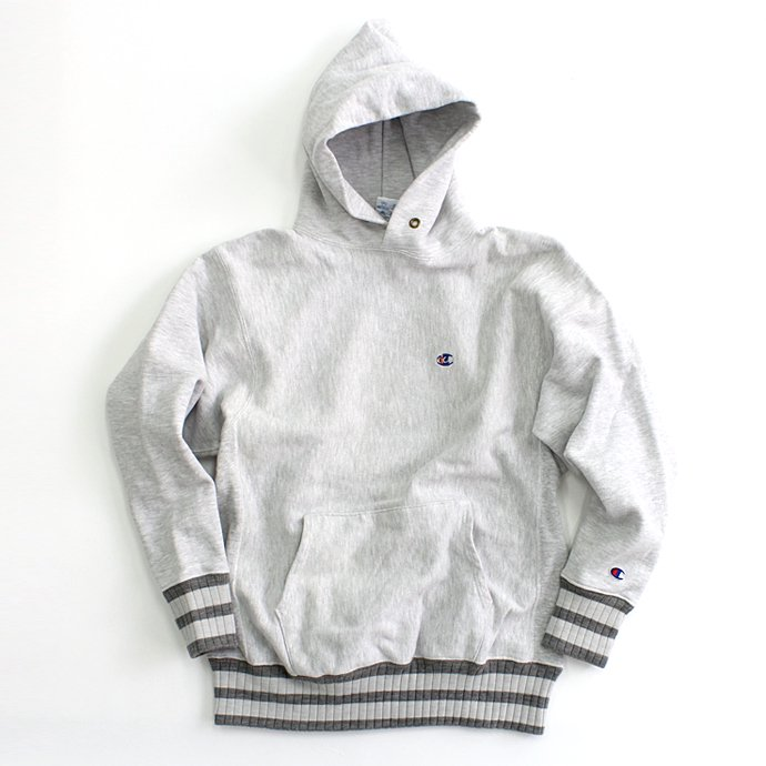 Hexico Deformer Hooded Sweat Border Rib ex. Reverse Weave - Grey<img class='new_mark_img2' src='//img.shop-pro.jp/img/new/icons47.gif' style='border:none;display:inline;margin:0px;padding:0px;width:auto;' /> 01