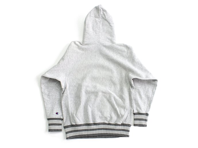 Hexico Deformer Hooded Sweat Border Rib ex. Reverse Weave - Grey<img class='new_mark_img2' src='//img.shop-pro.jp/img/new/icons47.gif' style='border:none;display:inline;margin:0px;padding:0px;width:auto;' /> 02