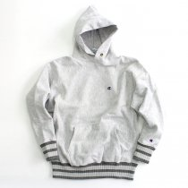 Hexico Deformer Hooded Sweat Border Rib ex. Reverse Weave - Grey<img class='new_mark_img2' src='//img.shop-pro.jp/img/new/icons47.gif' style='border:none;display:inline;margin:0px;padding:0px;width:auto;' />