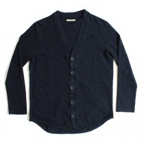 Tuck Stitch Indigo Dye Round Hem Cardigan - One Wash
