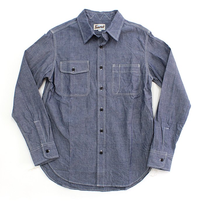 TAURUS Workingman's Shirts - Chambray<img class='new_mark_img2' src='//img.shop-pro.jp/img/new/icons47.gif' style='border:none;display:inline;margin:0px;padding:0px;width:auto;' /> 01
