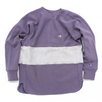 Hexico / Deformer Sweat - One Border Round Hem Ex. US Reverse Weave - Purple