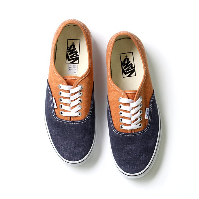 VANS Washed 2 Tone Authentic(ウォッシュド 2トーン オーセンティック)-  Peacoat/Golden Ochre<img class='new_mark_img2' src='//img.shop-pro.jp/img/new/icons47.gif' style='border:none;display:inline;margin:0px;padding:0px;width:auto;' /> 01