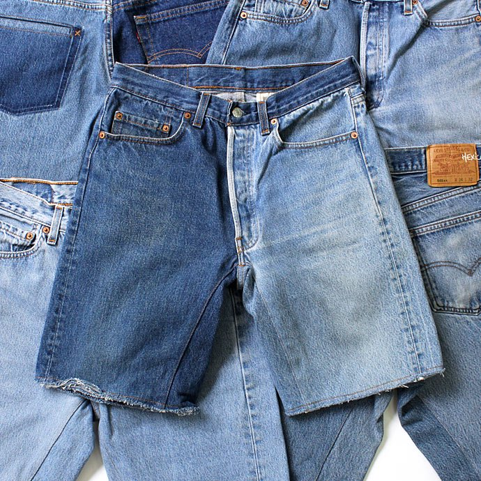 91660053 Hexico / Deformer Shorts - Left to Right 2-Tone Ex. U.S. Made 501 リメイクデニムショーツ - Blue Denim 01