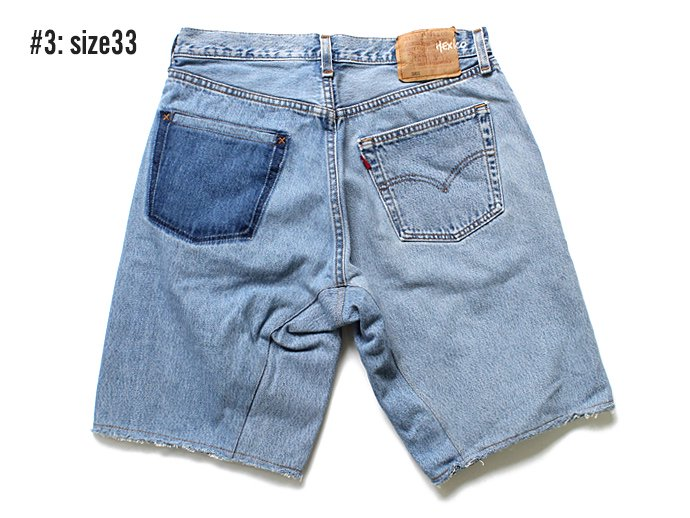 91660053 Hexico / Deformer Shorts - Left to Right 2-Tone Ex. U.S. Made 501 リメイクデニムショーツ - Blue Denim 02