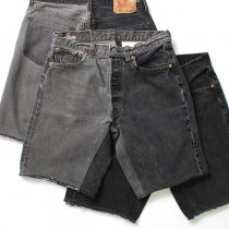 Hexico / Deformer Shorts - Left to Right 2-Tone Ex. U.S. Made 501 リメイクデニムショーツ - Black Denim