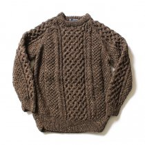 H. ROBINSON KNITTING / Hand Knitted Cable P/O ハンドニットケーブル編みプルオーバー - Brown Ale