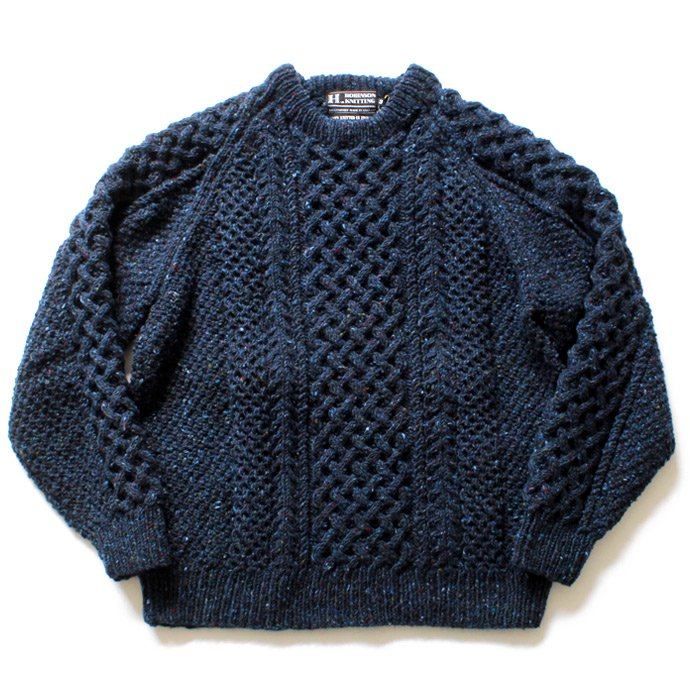H. ROBINSON KNITTING H. ROBINSON KNITTING / Hand Knitted Cable P/O ハンドニットケーブル編みプルオーバー - Royal Navy