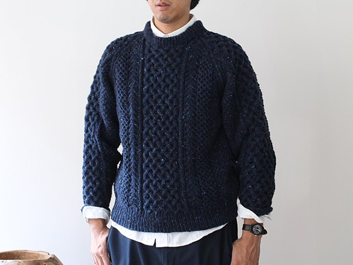 H. ROBINSON KNITTING H. ROBINSON KNITTING / Hand Knitted Cable P/O ハンドニットケーブル編みプルオーバー - Royal Navy 02