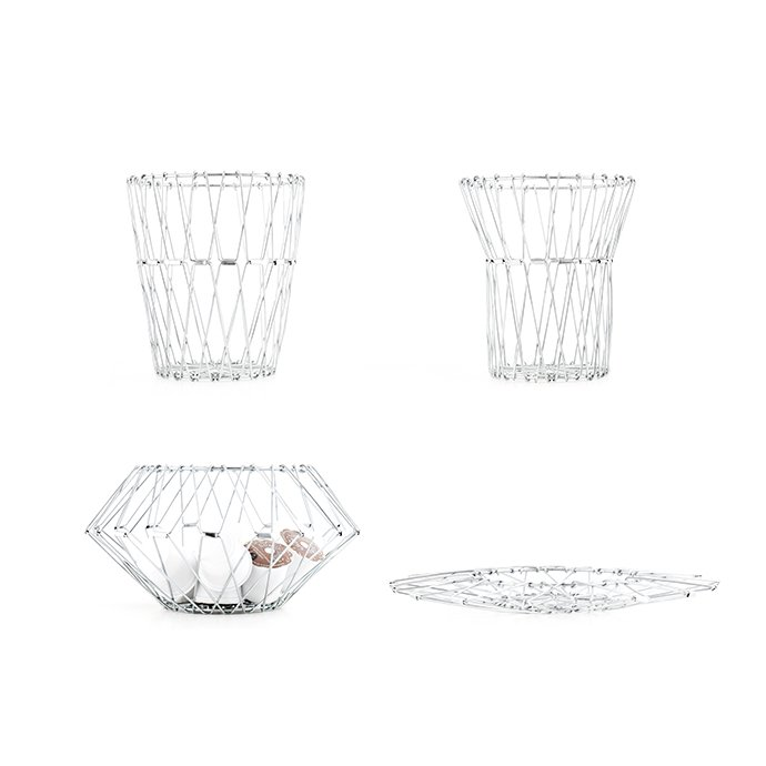 Other Brands Small Folding Wire Basket - Silver スモールフォルディングワイヤーバスケット シルバー<img class='new_mark_img2' src='//img.shop-pro.jp/img/new/icons47.gif' style='border:none;display:inline;margin:0px;padding:0px;width:auto;' /> 01