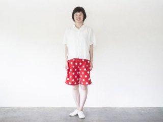 ショートパンツ  久留米絣 赤ドット