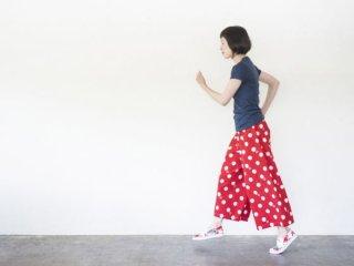ロングパンツ  久留米絣 赤ドット