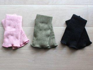 旧作:シルクとコットンの二重織りレッグウォーマー 足首スモークピンク