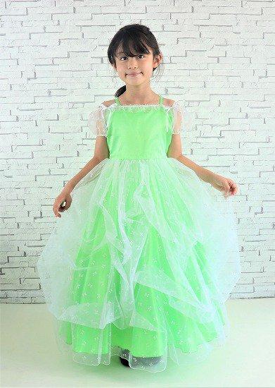 豪華なふんわりグリーン子供ドレス