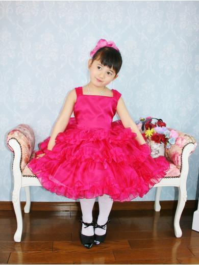 3段フリルのプリティー赤子供ドレス