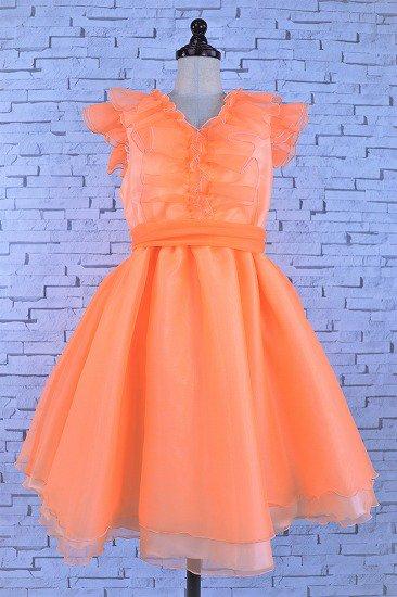 フリルのオレンジドレス