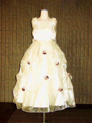巻きバラのベージュドレス【オーダーのみ】