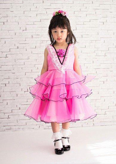 3b188e0ca38db ピンクハート3段フリルドレス - 子供ドレス ・発表会ドレスの Lovely ...