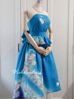 セミオーダー/ミモレ丈アシメトリプリンセスドレス(ショール、ぺプラムリボンベルトつき)仮縫い込み