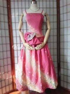 セミオーダー/ミモレ丈プリンセスドレス(細ストラップ、大リボンつき)仮縫い込み