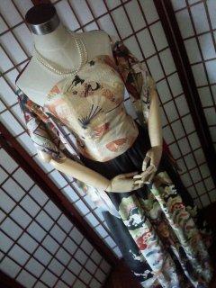 【11周年記念】帯リメイク★丸帯ビスチェ×アンティーク黒留袖セットアップドレス(正絹)