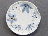 桃窯 青茶の葉 箸置き小皿