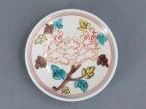 九谷青窯 色絵うねり牡丹 3寸皿