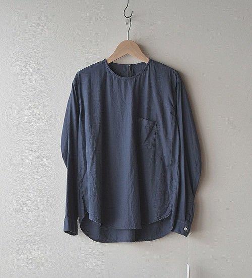 ゴーシュ-50/1 オーガニックツイル P/Oシャツ グレイッシュブルー