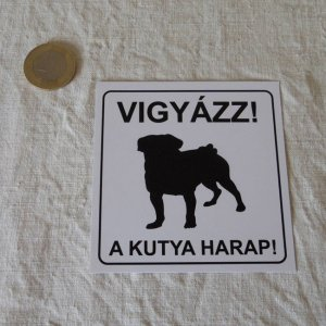 ハンガリー 犬 ステッカー hungary beware of the dog sticker paper papir