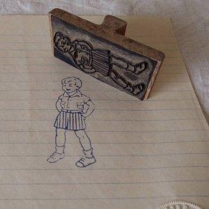 アメリカの古い教材ハンコ 男の子 usa vintage stamp seal boy