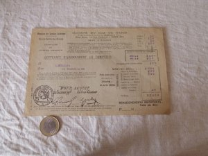 2フランス パリガスメーター 料金表 1923 march april Paris gas recipt antiques vintage paper papir